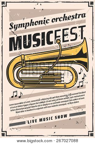 Music Fest Of Symphonic Orchestra Vector Retro Poster With Golden Tuba. Musical Wind Instrument On V