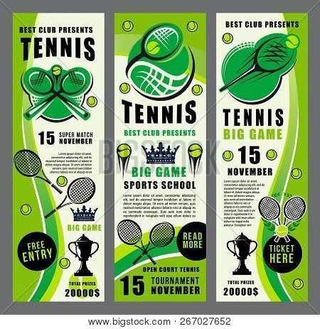 Tennis Sport Club And Tournament Vector Banners With Ball And Racket. Trophy Cup And Crown Silhouett