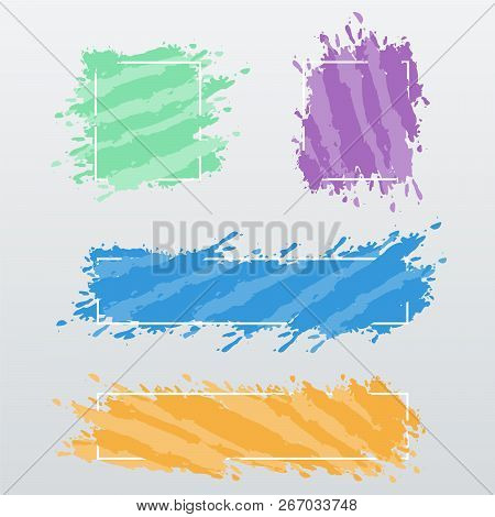 Modern Banners, Frames Of Color Brush Strokes, Vector Set. Blank Textured Shapes. Pastel Color Artis