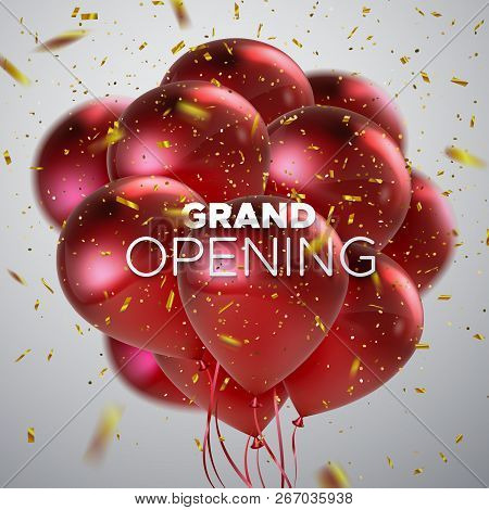 Grand Opening. Business Startup Open Ceremony. Vector Illustration. Marketing Event Label. Abstract