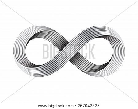 Infinity Sign Made Of Metal Cables. Mobius Strip Symbol. Vector Illustration Isolated On White Backg