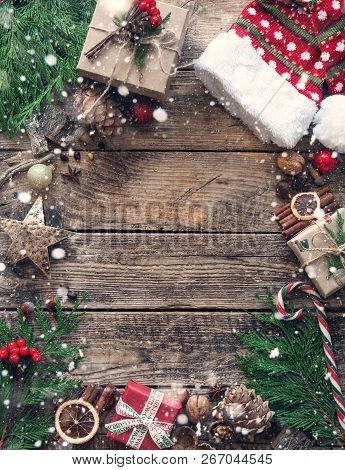 Christmas Composition On Wooden Vintage Background. Top View, Flat Lay.
