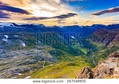 Tourism Vacation And Travel. Fantastic View On Geirangerfjord And Mountains Landscape From Dalsnibba