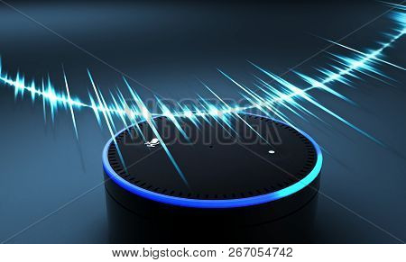 3d Rendering Of Voice Recognition System On Blue Ground