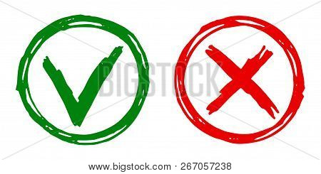 Tick Cross Vector Check Marks Icons. Done Checklist Symbols Scribble Design. Abstract Yes And No Che