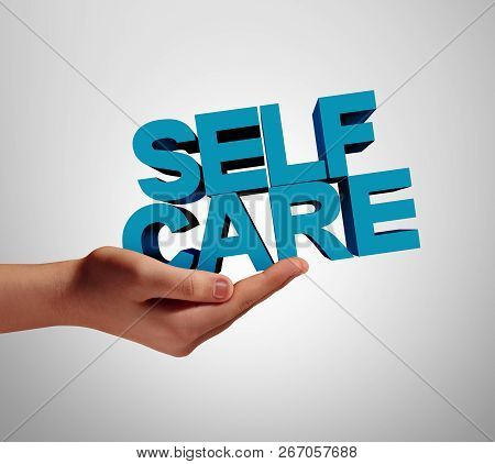 Self Care Individual And Wellness Health Support As A Medicine Or Wellbeing Concept With A Hand Hold
