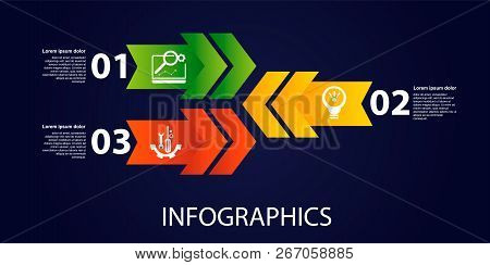 Dark Vector Illustration 3D. Infographic Template With Three Elements, Arrows, Text And Icons. Timel
