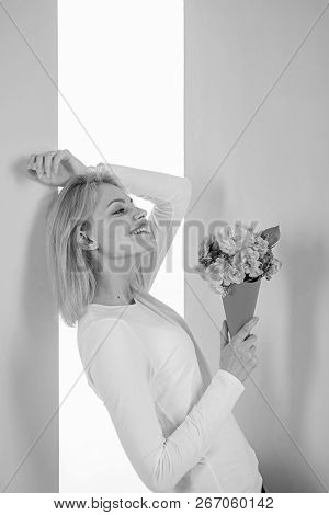 Lady Happy Received Flowers From Secret Admirer. Who Is Her Secret Admirer Woman Smiling Dreamy Try