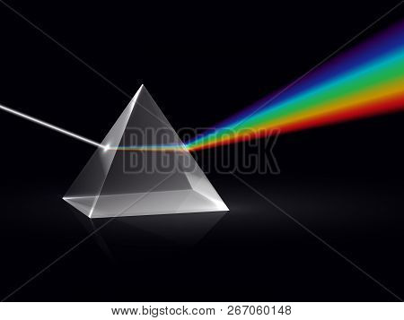 Light Rays In Prism. Ray Rainbow Spectrum Dispersion Optical Effect In Glass Prism. Educational Phys