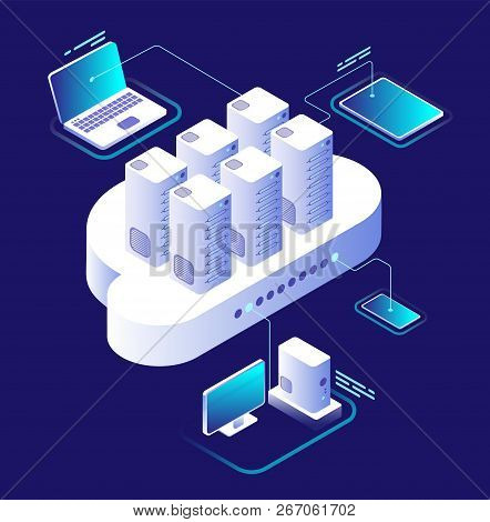 Cloud Computing Concept. Computing Network, Cloud Smartphone App. Data Storage Technology 3d Vector