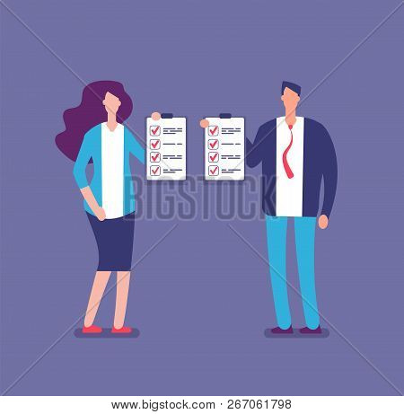 Checking Plan List. Office Manager Planning Project Checklist. Businessman And Businesswoman Hold Ch