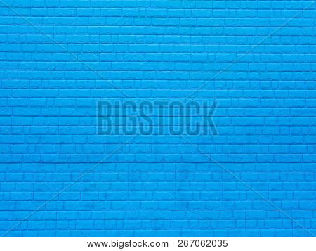 Brick Wall. The Brick Wall Painted In Blue, Close Up