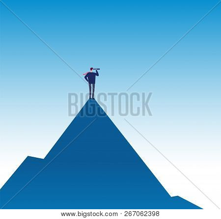 Business Mission Concept. Visionary On Mountain Peak With Telescope. Success Business Vision Vector