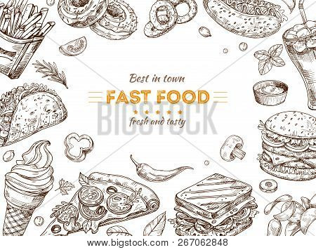 Fast Food Background. Sketch Drawing Hamburger, Cola Snacks. Doodle Ice Cream, Pizza And Sandwich. F