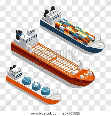 Modern Cargo Ships Isometric Vector Design. Set Of Transportation Ships Isolated On Transparent Back