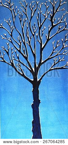 Acrylic Painting On Canvas Of Tree With Snow Covered Bare Branches