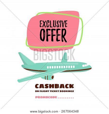 Cheap Flights. Flight Concept. Offer Flights. Inscription - Cashback. Vector Cartoon.
