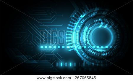 Blue Circuit On Cyberspace Background,abstract Technology Background,circuit Connection With Power C