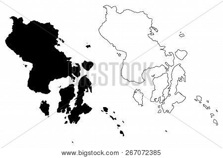 Southeast Sulawesi (subdivisions Of Indonesia, Provinces Of Indonesia) Map Vector Illustration, Scri