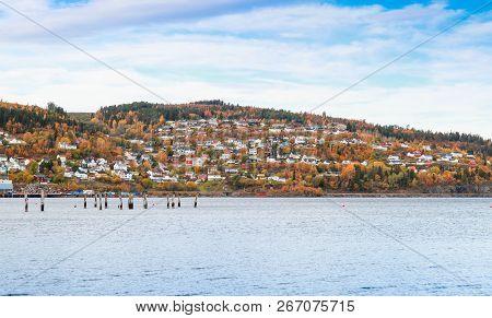 Hommelvik, Village In Norway. Rural Norwegian Landscape At Autumn Day