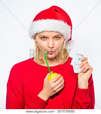 Lemon Money Concept. Symbol Of Wealth And Richness. Rich Girl With Lemon And Money. Girl Santa Hat D