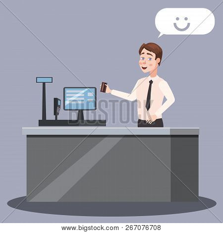 Cashier Standing At The Checkout. Cashier Working At The Checkout In A Supermarket. Cashier Standing