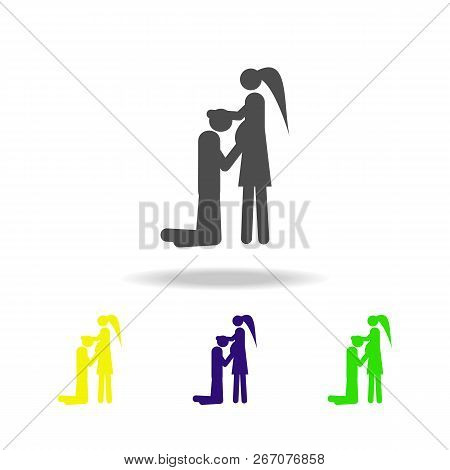 Couple In Anticipation Of Baby Multicolored Icons. Element Of Life Married People Illustration. Sign