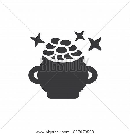 Pot Full Gold Vector Icon On White Background. Pot Full Gold Icon In Modern Design Style. Pot Full G