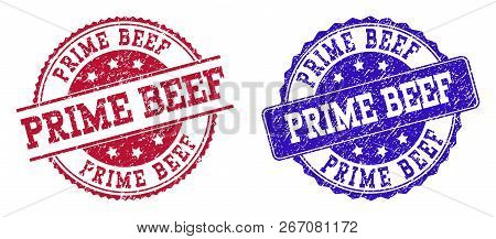 Grunge Prime Beef Seal Stamps In Blue And Red Colors. Stamps Have Distress Texture. Vector Rubber Im