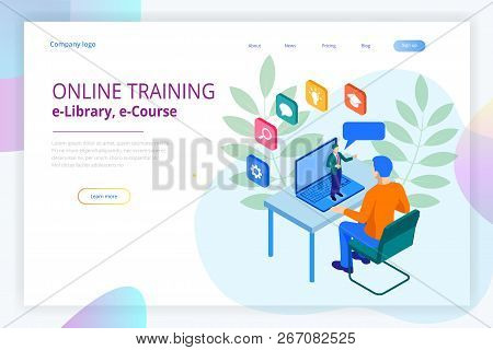 Isometric Web Banner Online Training Or Education And Internet Training Courses Concept. Landing Pag