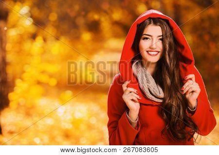 A portrait of a beautiful young woman in an autumn forest. Lifestyle, autumn fashion, beauty.