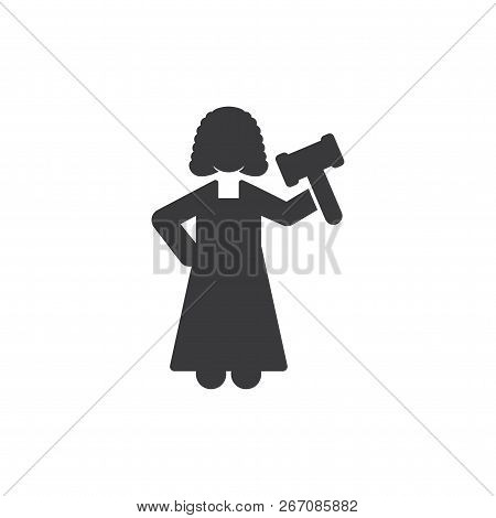Woman Judge Vector Icon On White Background. Woman Judge Icon In Modern Design Style. Woman Judge Ve
