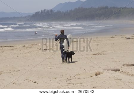 Woman & Dog Going Surfing