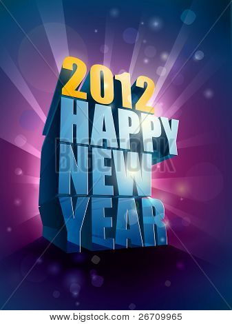 2012 Happy New Year Greeting Illustration