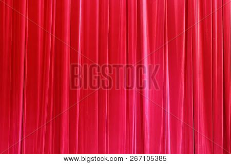 Photo Theatrical curtain of scarlet color of velvet. poster