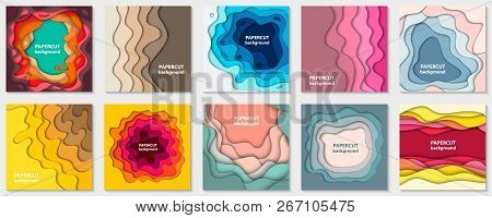 Vector Collection Of 10 Backgrounds With Colorful Paper Cut Shapes. 3d Abstract Paper Art Style, Des