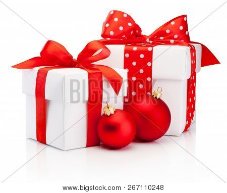 Two White Gift Box Tied Red Ribbon Bow And Christmas Baubles Isolated On White Background