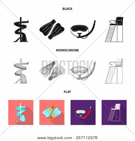 Vector Illustration Of Pool And Swimming Logo. Collection Of Pool And Activity Stock Vector Illustra