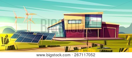 Energy Independent, Efficient House Cartoon Vector Concept. Modern Cottage With Solar Panel And Wind