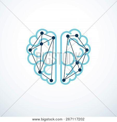 Artificial Intelligence Concept Vector Logo Design, Digital Mind And Smartness. Human Anatomical Bra