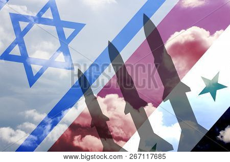 Syria and Israel rockets on sky