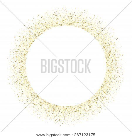 Gold Sparkles Glitter Dust Metallic Confetti Vector Background. Luxury Golden Sparkling Background.