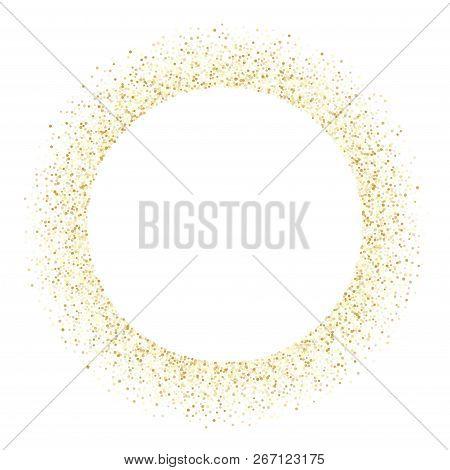 Gold Sparkles Glitter Dust Metallic Confetti Vector Background. Luxury Golden Sparkling Background.