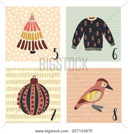 Advent Calendar With Hand Drawn Vector Christmas Holiday Illustrations For December 5th - 8th. Ugly