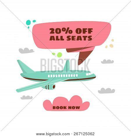 Cheap Flights. Flight Concept. Offer Flights. Inscription - 20 Off All Seats. Vector Cartoon.