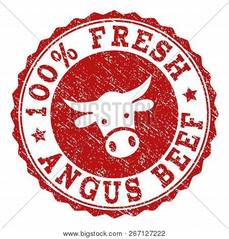 100 Fresh Angus Beef Stamp Seal With Grunged Texture. Designed With Bull Head Symbol. Red Vector Rub