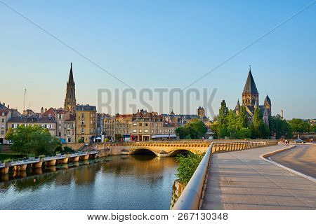 Sunset Over Temple Neuf (new Temple) And Temple De Garnison (garrison Temple) Cityscape Metz France