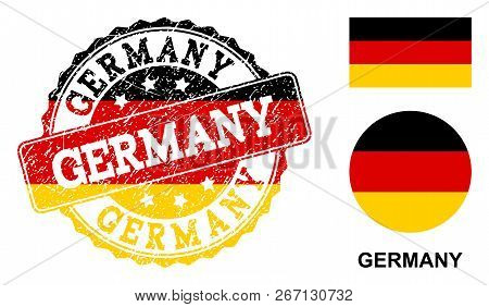 Germany Stamp Seal. Vector Rubber Watermark With Official Colors Of Germany Flag. Designed For Germa