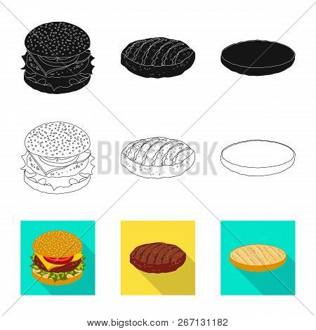 Vector Design Of Burger And Sandwich Sign. Collection Of Burger And Slice Vector Icon For Stock.