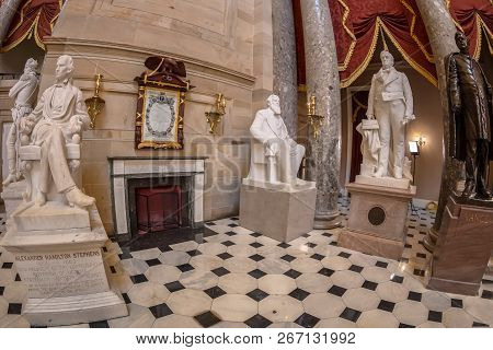 Washington Dc, Usa - September 4, 2018: Large Angle View At Interior Of Statuary Hall In The Us Capi